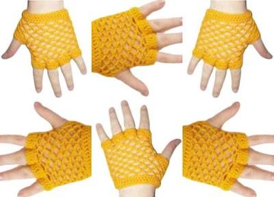 Guantes sin dedos calados para tejer sin patrón