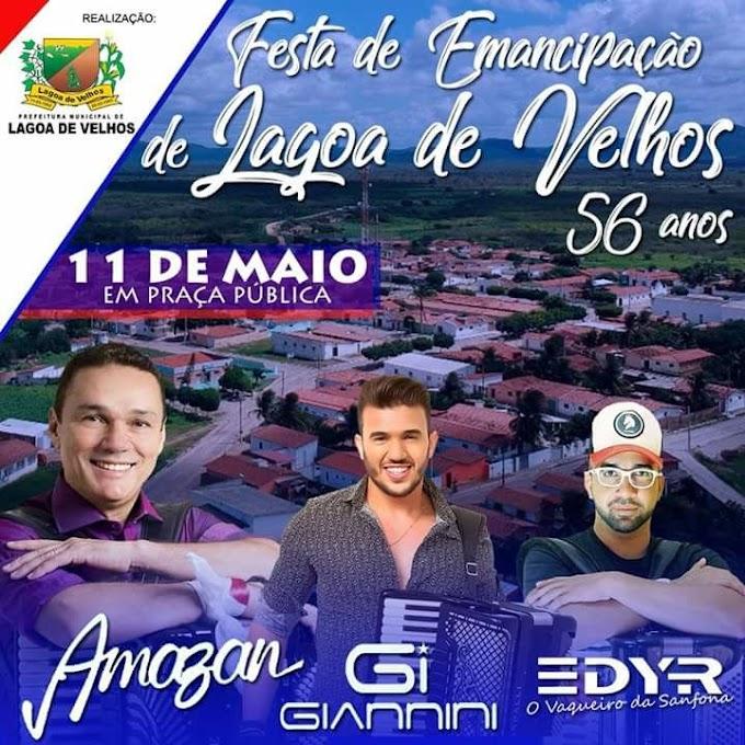 Confira as atrações da 56° Festa de Emancipação política de Lagoa de Velhos - RN