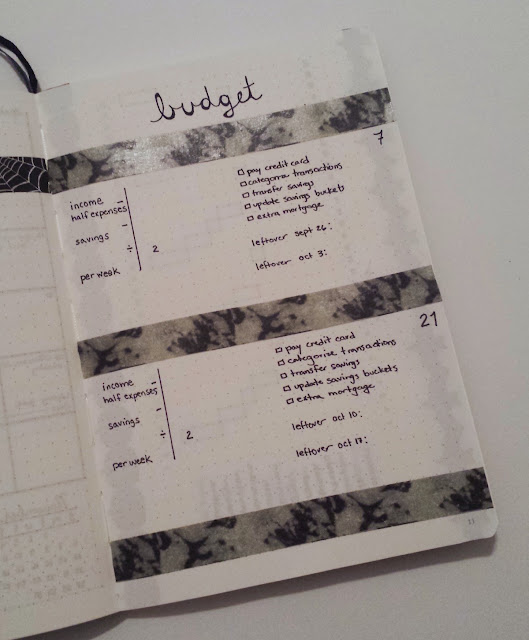 October 2016 Bullet Journal Monthly Layout Budget Tracker