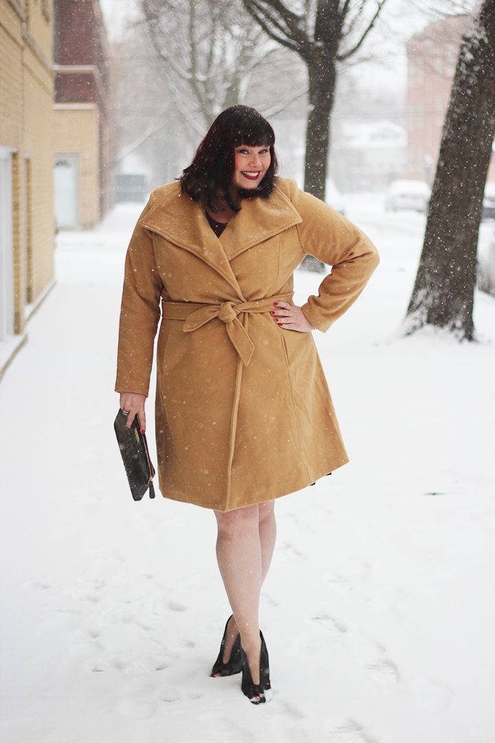 Plus Size Blogger Amber in Jessica London Camel Coat from Fullbeauty.com