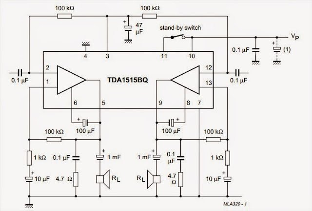 2 x 18 watt stereo low power amplifier circuit