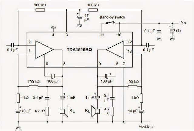 AmplifierCircuits.com: BTL audio amplifier