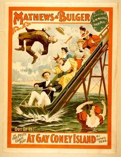 Cartel anunciando los toboganes acuáticos