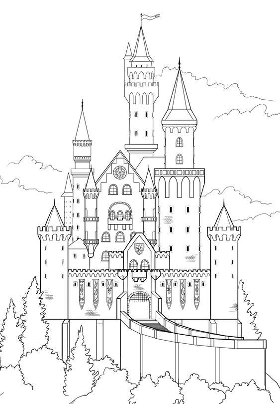 Tranh cho bé tô màu lâu đài 4