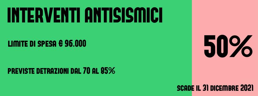 detrazioni fiscali 2017 2021 interventi antisismici