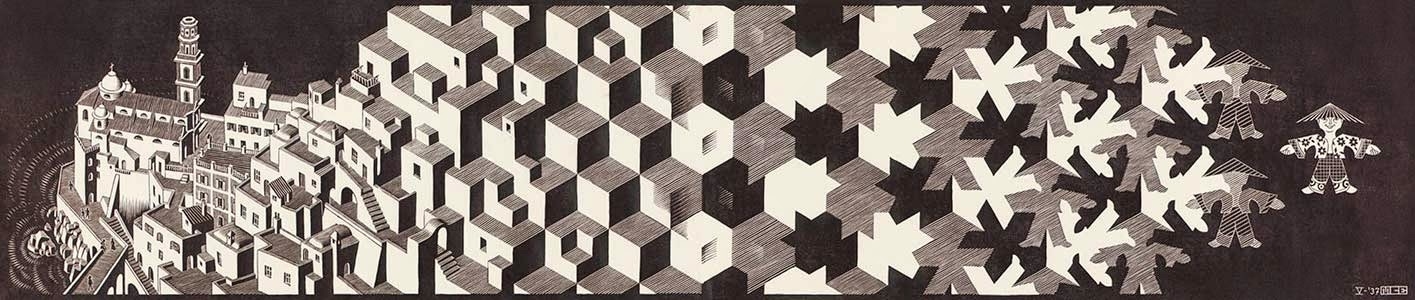 Metamorfose l - Escher, M. C. e suas geniais litogravuras