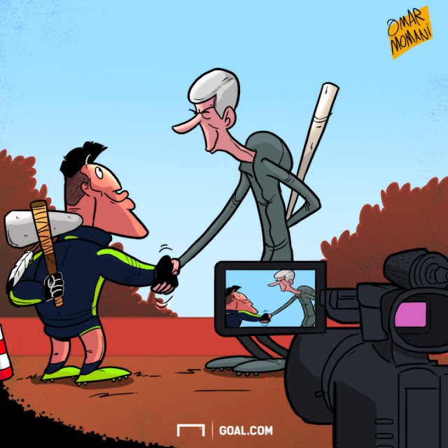 Arsene Wenger and Alexis Sanchez cartoon