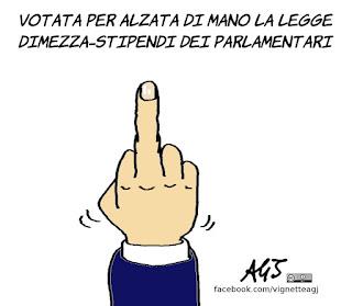 alzata di mano, legge taglia stipendi, votazioni, vignetta, satira