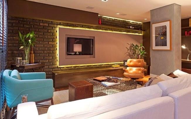 Aqui o painel da tv destaca a parede de tijolos que funciona como uma  moldura! 91e32d84ef22b