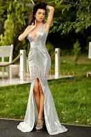 Rochie lunga cu paiete argintii • Atmosphere