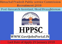 Himachal Pradesh Public Service Commission Recruitment 2018-55 Research Assistant, Head Draughtsman