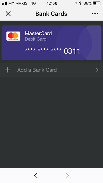 WeChat Pay: debit card added / linked