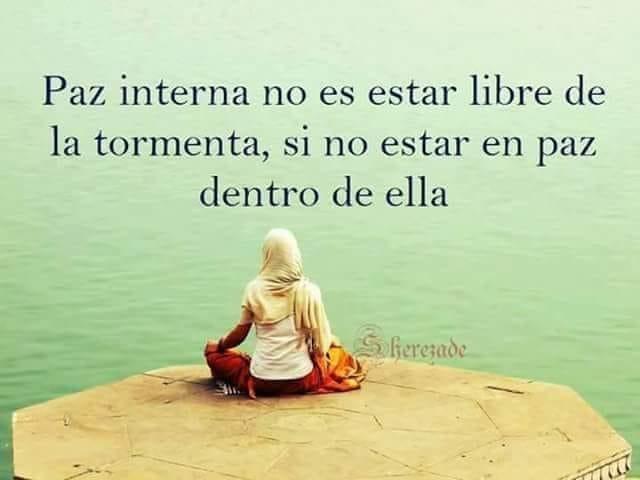 Paz interna no es estar libre de la tormenta, si no estar en paz dentro de ella.