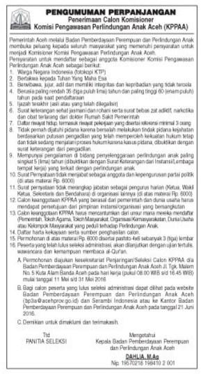 Rekrutmen KP3A Aceh