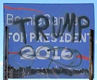 vandalized Sanders sign