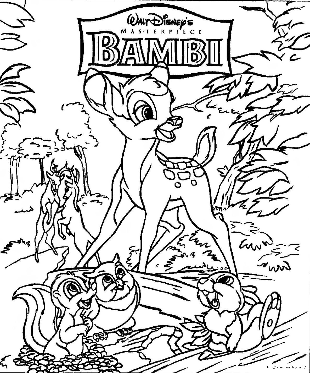 Bambi disegno da colorare n 1 for Disegni da colorare walt disney