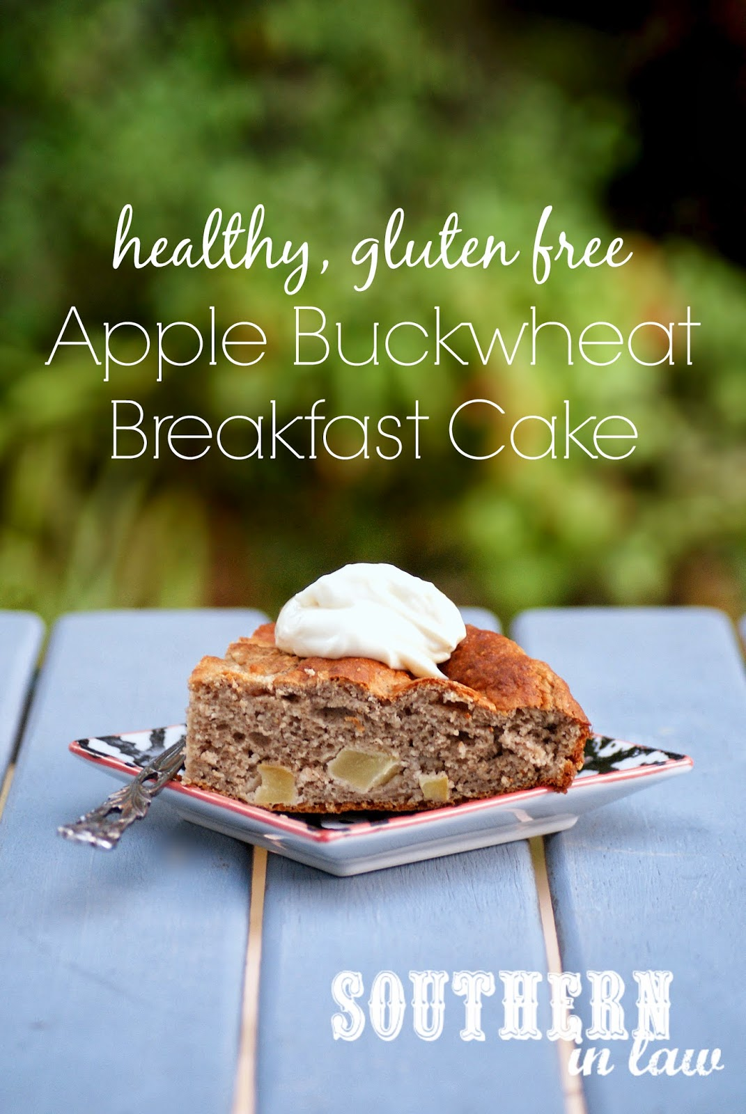 Healthy Apple Buckwheat Breakfast Cake Recipe -  low fat, gluten free, sugar free