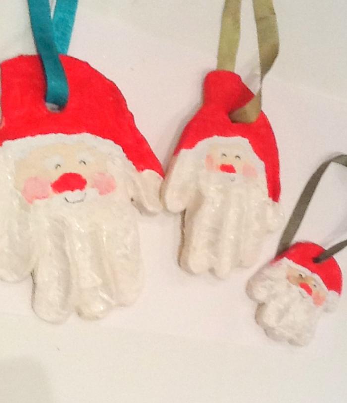 Salt Dough Handprints - Christmas Santa Ornament
