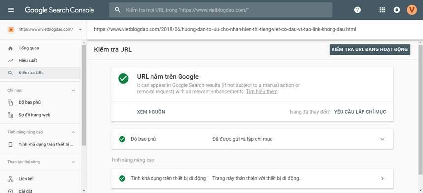 Hướng dẫn sử dụng Công cụ kiểm tra URL trong Search Console mới