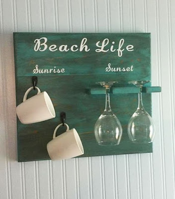 Beach Wall Sign Mug and Glass Wall Organizer Kitchen