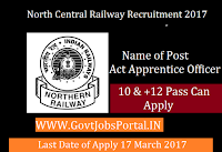 North Central Railway Recruitment 2017 – 413 Act Apprentice Officer