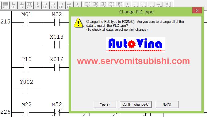 Xác nhận chuyển đổi chương trình PLC từ dòng cũ sang dòng PLC mới