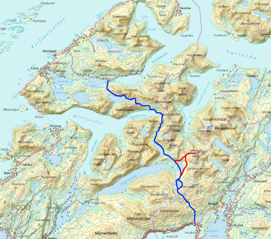 valnesfjord kart Toppturer i Salten: Overgangstur Valnesfjord   Kjerringøy