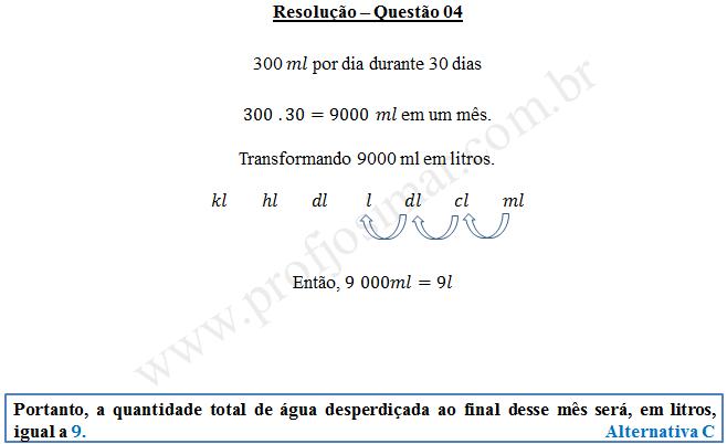 Questão 04 - Sistema de medidas usuais