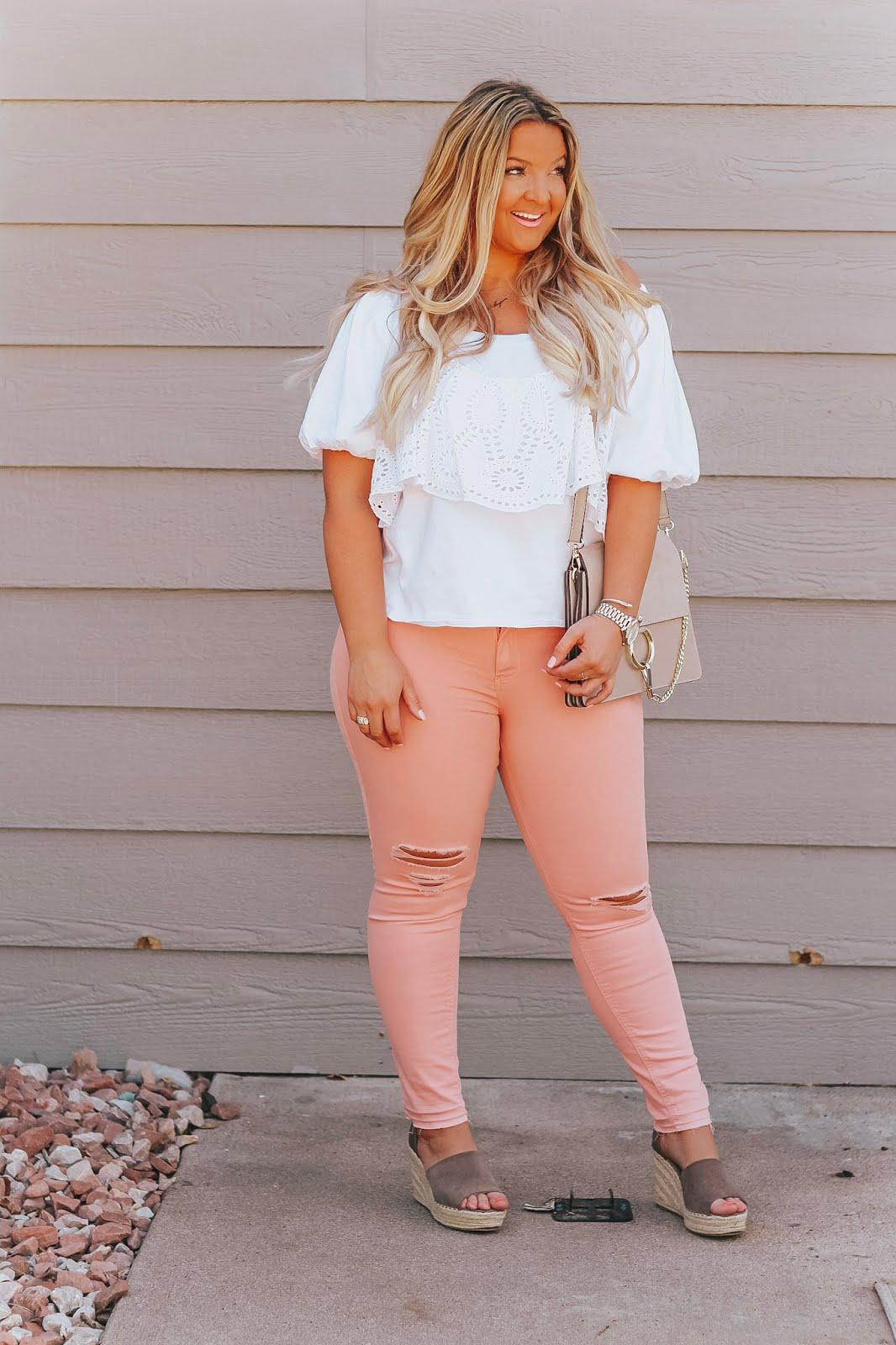 White Off the Shoulder Top & Pink Denim styled by popular Denver fashion blogger, Delayna Denaye