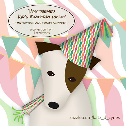 Dog themed children's birthday party invitations and party supplies from katzdzynes on Zazzle