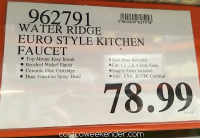 Deal for the WaterRidge Euro Style Pull-out Kitchen Faucet at Costco