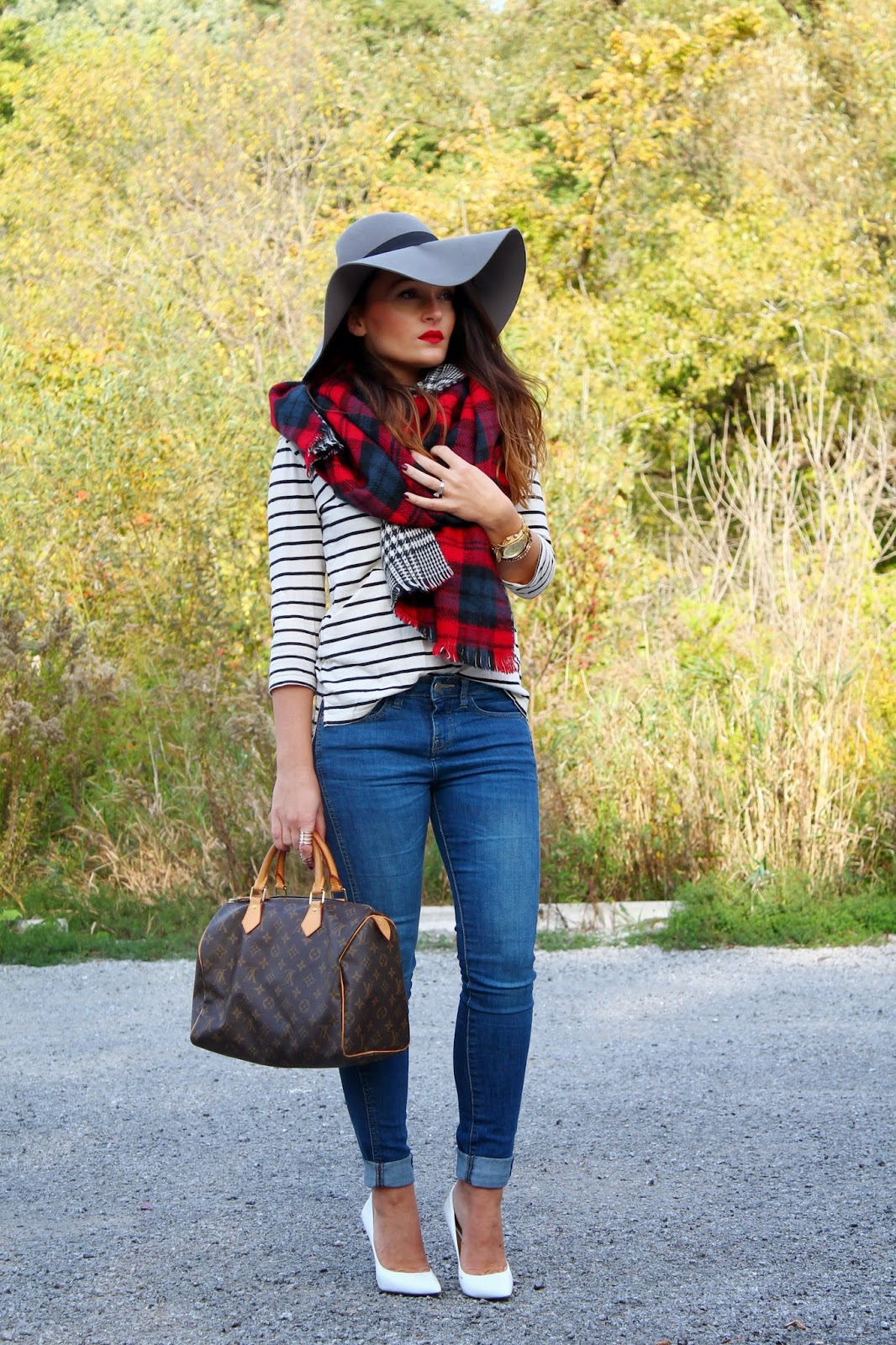 plaid scarf, oversized scarf, white pumps, joe fresh shoes, fall outfit, oversized hat, blogerke, toronto streetstyle, toronto fashion blogger