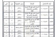 جدول امتحانات سنوات النقل الازهرى الاعدادى والثانوى 2019 التيرم الثانى نهاية العام