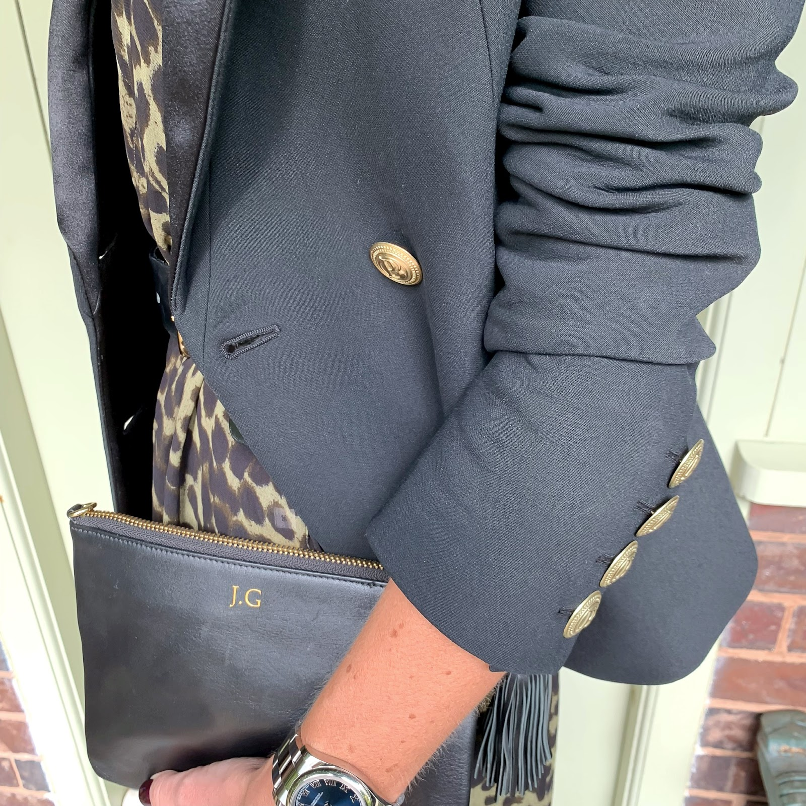 my midlife fashion, isabel marant etoile leopard print maxi dress, sole bliss carmen court shoes, aurora london willow bag, and other stories wide buckle waist belt, pierre balmain tuxedo jacket