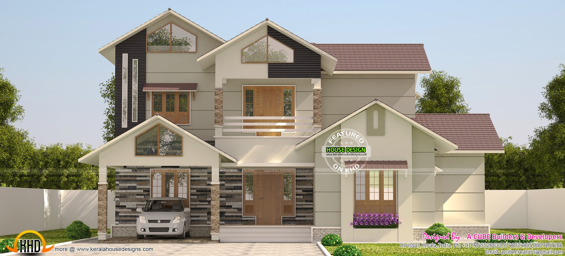 Sloping Roof Villa In 3200 Sq Ft Kerala Home Design And