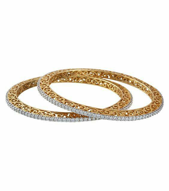 Diamond and gold bangles