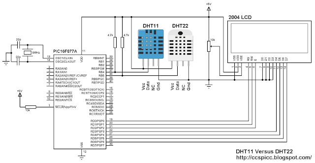 DHT11 versus DHT22 (AM2302) using PIC16F877A and 20x4 LCD circuit CCS