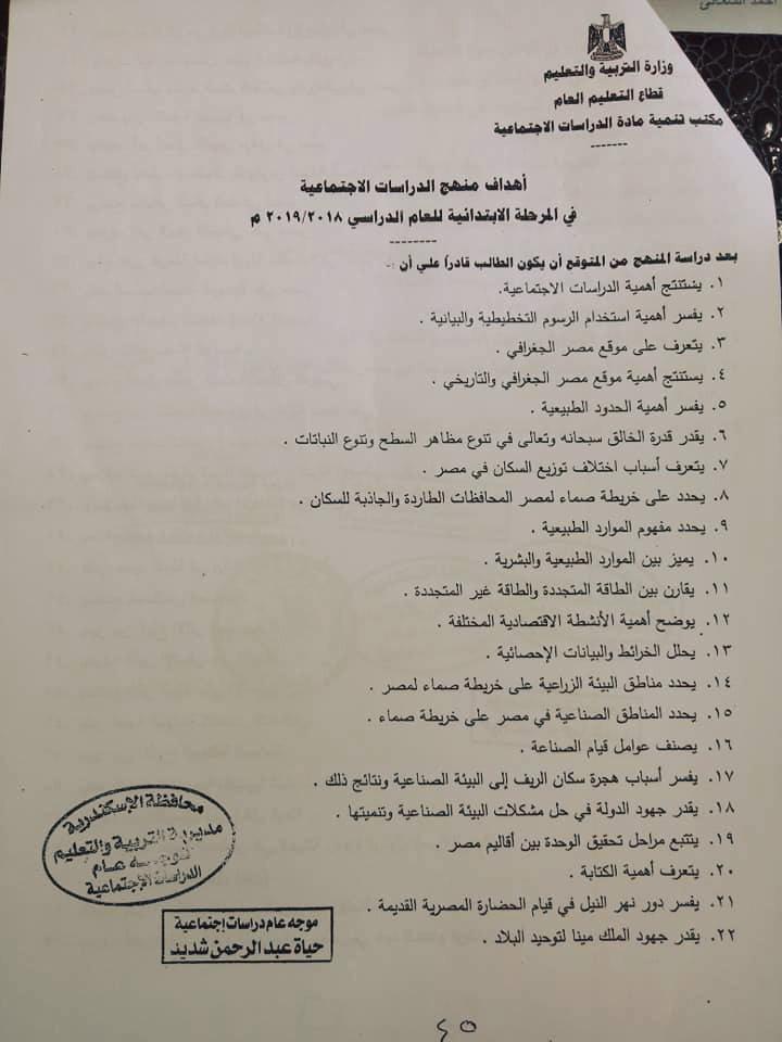 أهداف مادة الدراسات الإجتماعية للتحضير نهضة مصر التعليمية