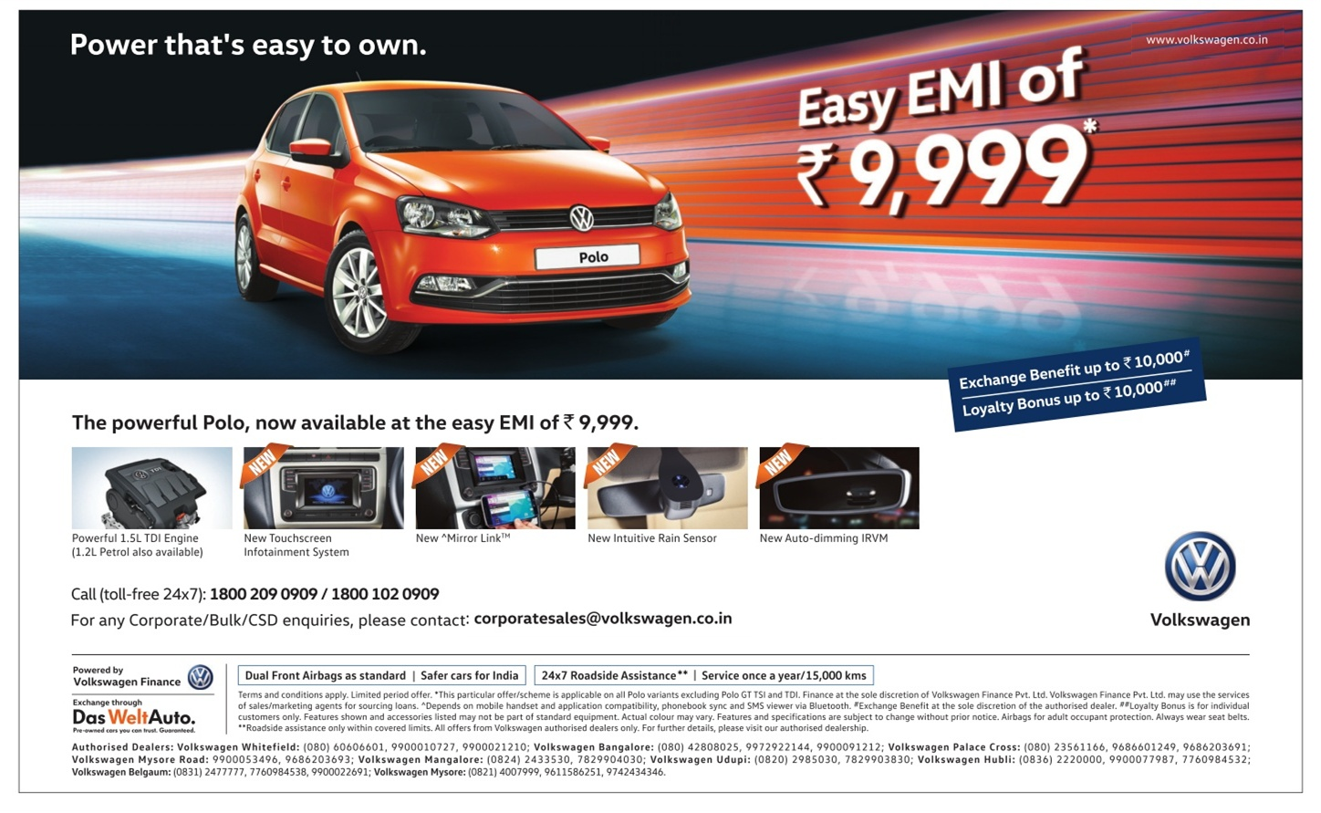 The powerful Polo with easy EMI offer | March 2016 discount offer