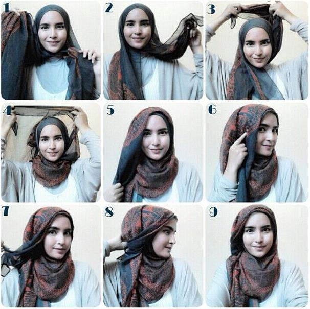 tutorial hijab segi empat simple style 2