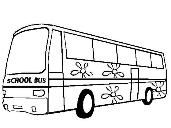 Sketsa Gambar Mewarnai Bus Sekolah Yang Mudah Untuk Anak Paud Dan Tk