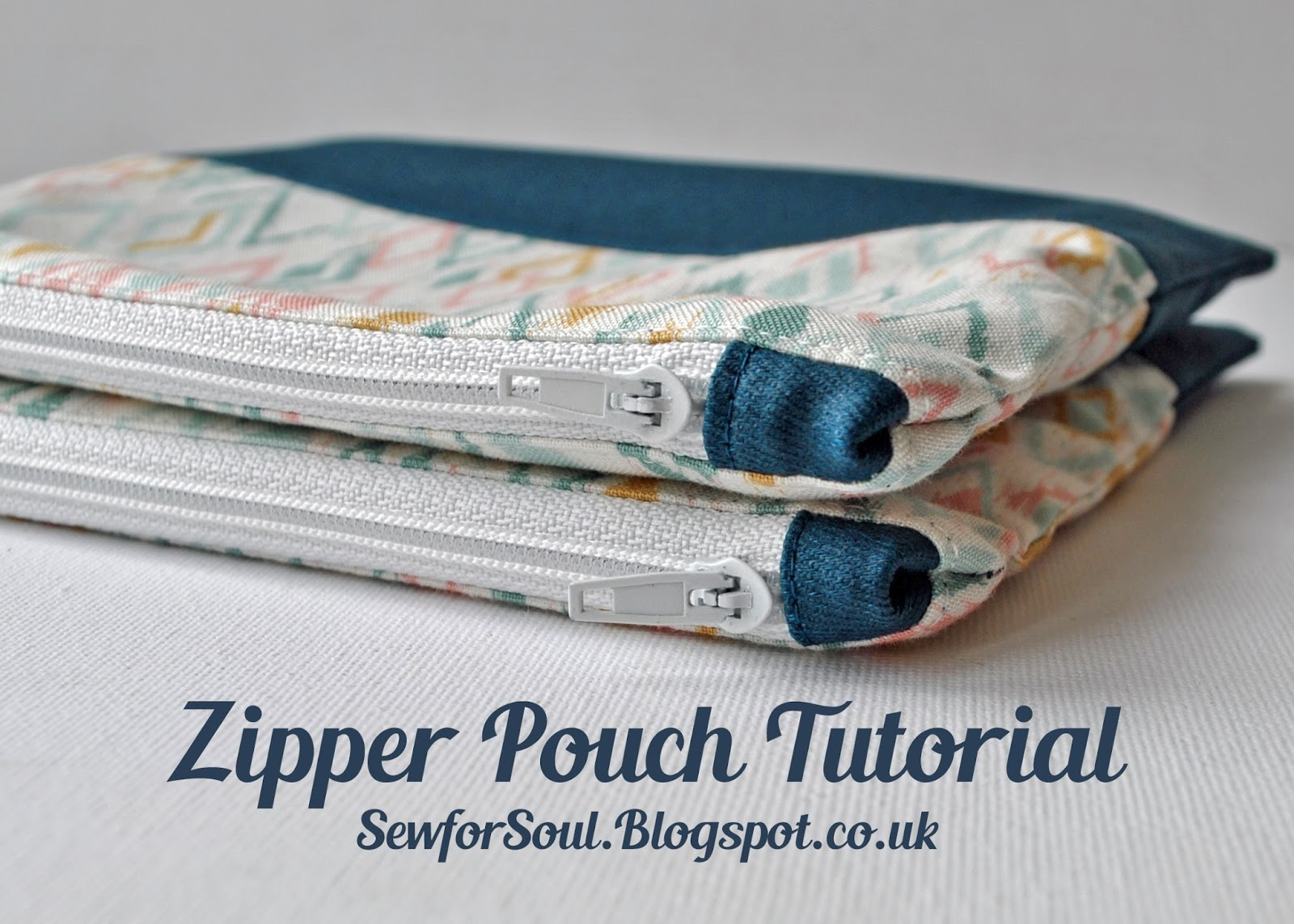 Lined Zipper Pouch With Matching Tabs Contrast Panel