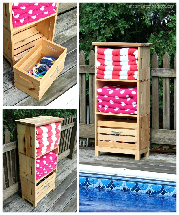 diy poolside storage unit using crates