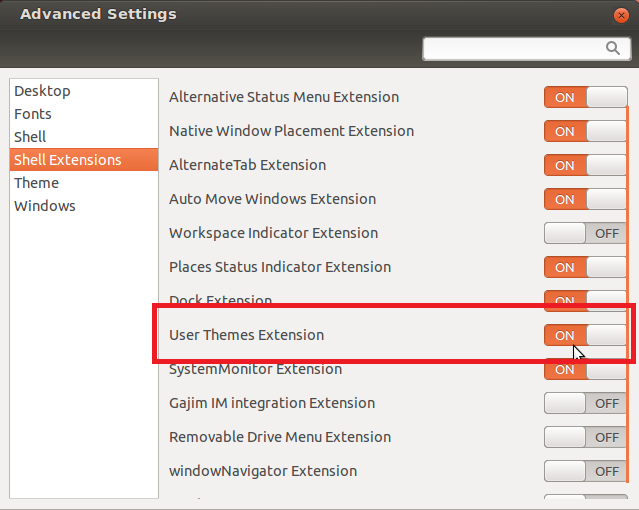 How To Enable And Install Gnome Shell Themes Under Ubuntu 12 04 LTS