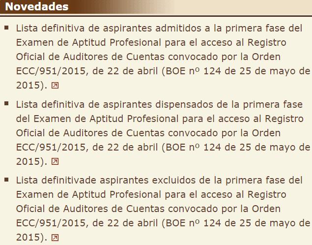 Examen ROAC 2015 listas definitivas aspirantes admitidos, excluidos y dispensados