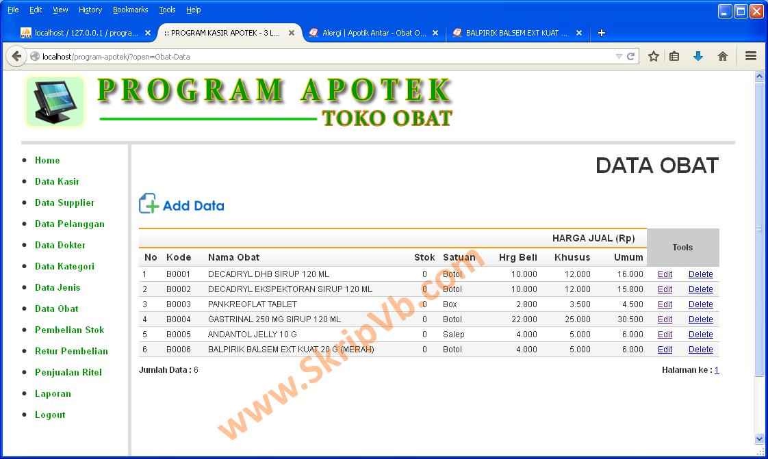 Halaman Program Manajemen Data Obat pada Program Apotek 06ccb3f1f3