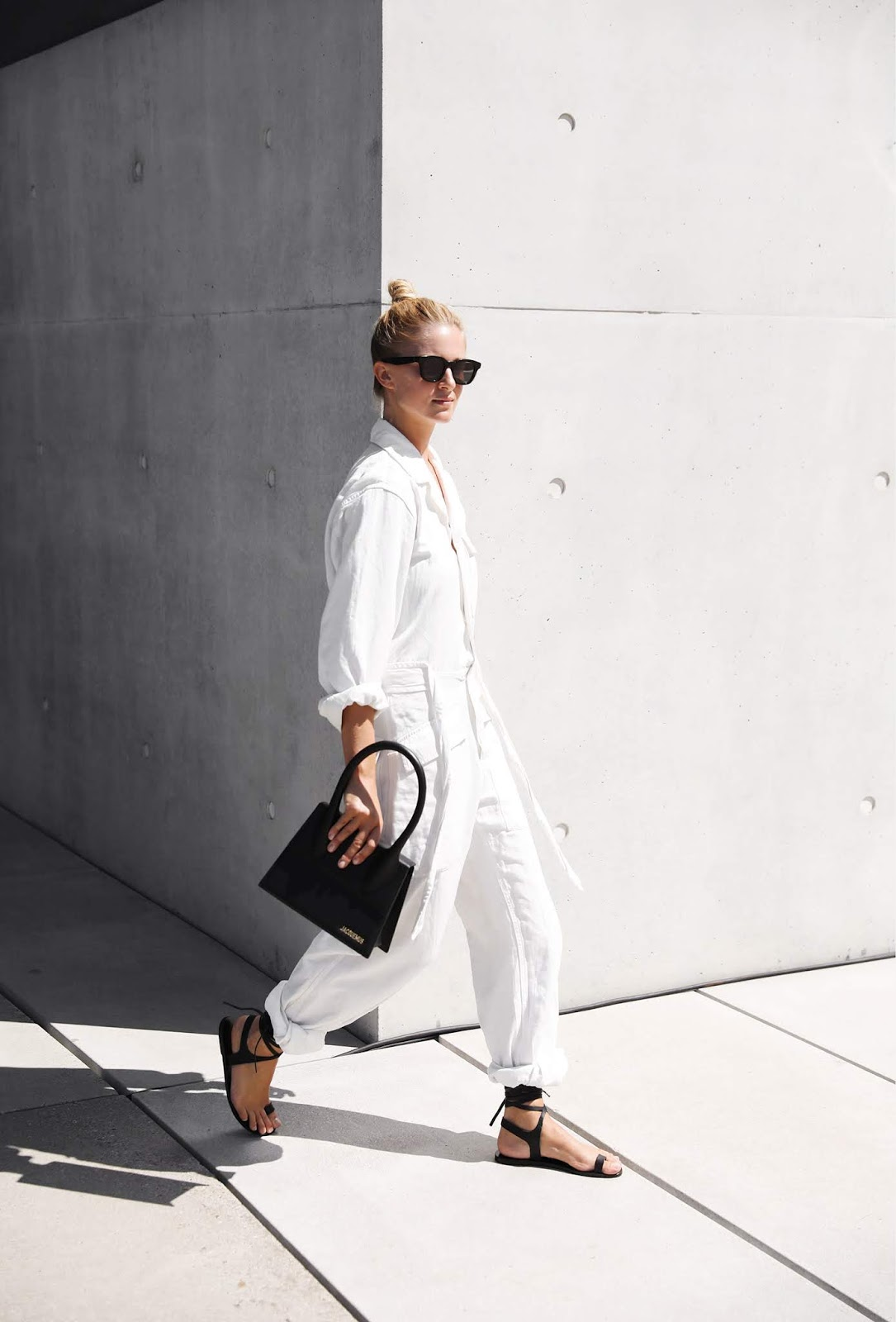 This Blogger Outfit Made Us Want a White Utility Jumpsuit — Mirjam Flatau Instagram