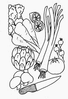 Desenho de legumes para colorir