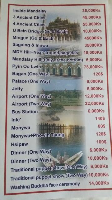 Tarifas por desplazamientos en Mandalay