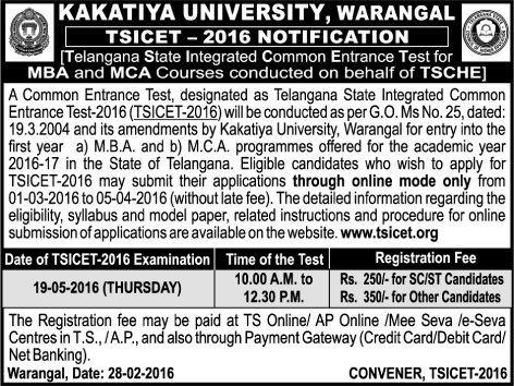 TS ICET 2016 Online Application TSICET Notification